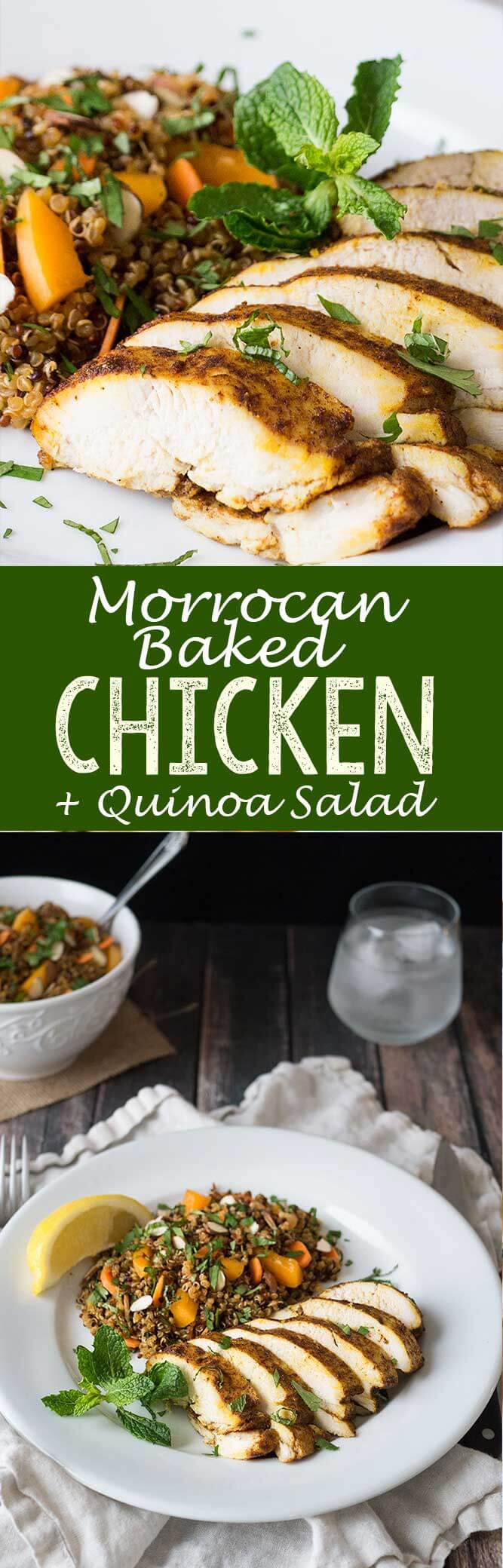 Flavorful morrocan baked chicken with a quinoa salad for the perfect meal