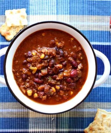 Southwestern style chili cooked in a crock pot or slow cooker