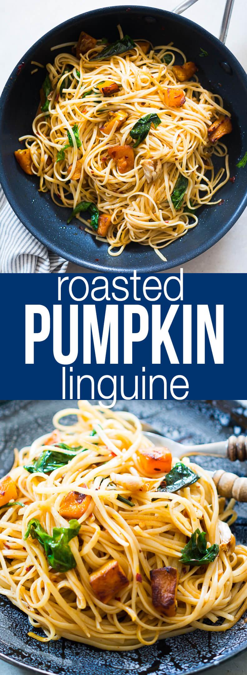 Roasted Pumpkin Spinach Linguine