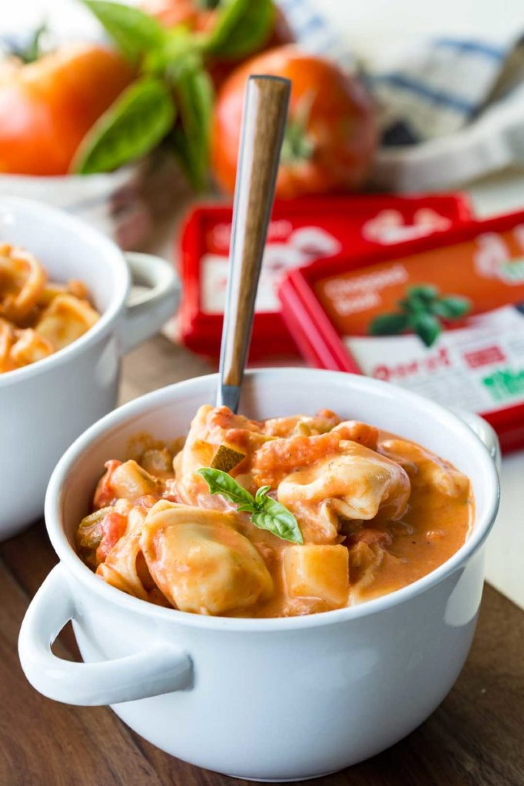 Creamy Tomato Basil Tortellini Soup is warm, comforting, and offers tantalizing flavors