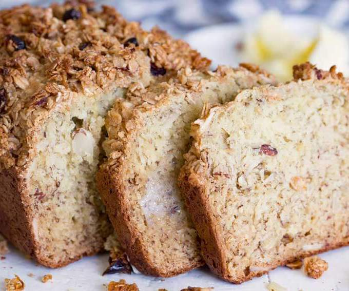 Cranberry almond granola topped banana bread