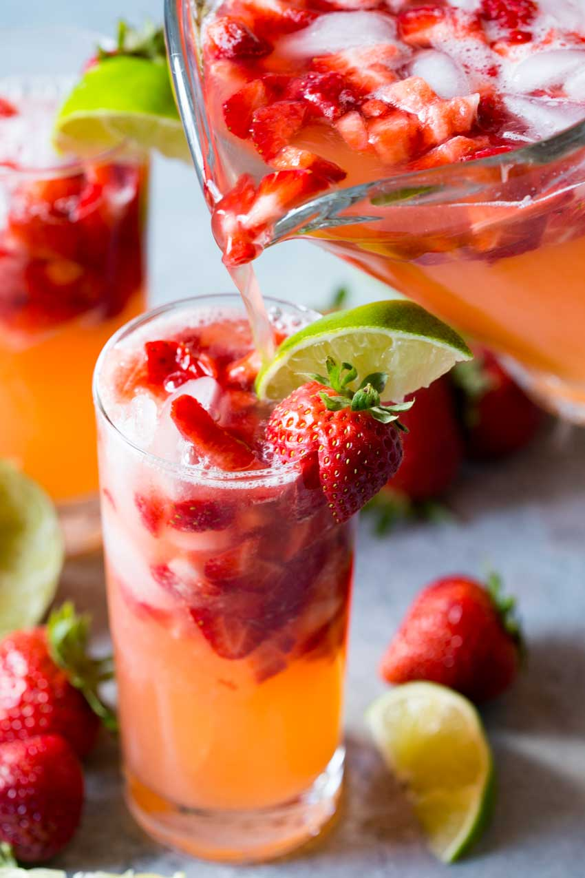 Love sparkling strawberry limeade. A fresh and refreshing drink!