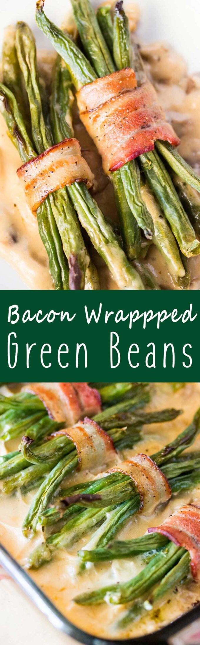 Bacon Wrapped Green Beans: Features tender green beans that are wrapped in bacon and baked atop a creamy delicious mushroom sauce. Umm good!