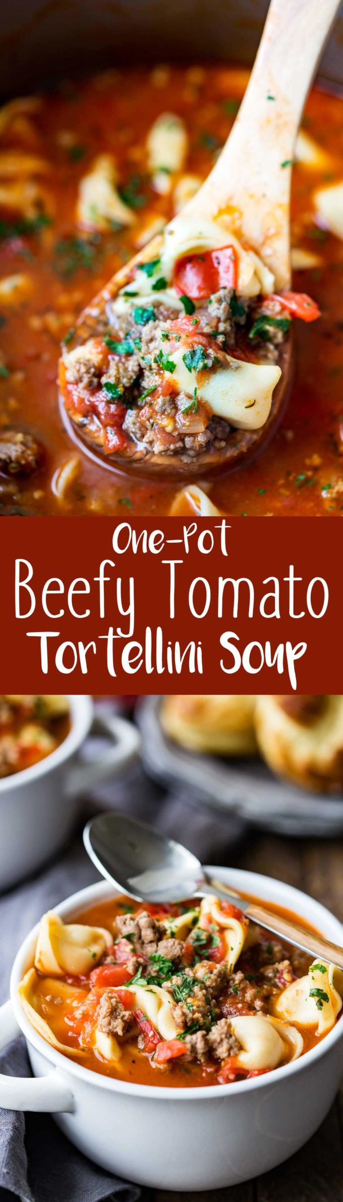 Hearty, beefy, tomato tortellini soup is the ideal comfort soup this winter!