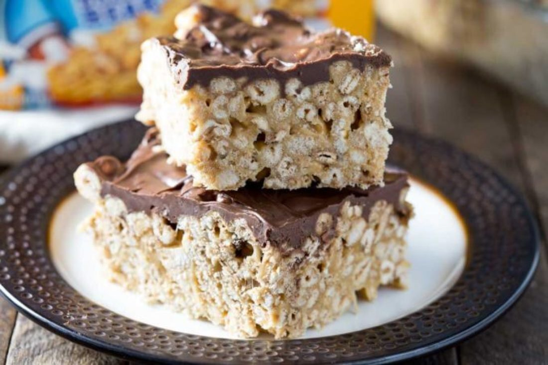 How to Make Cereal Treats: Easy cereal treat, these chocolate, peanut butter, caramel Scotcharoos are made with Golden Crisp cereal