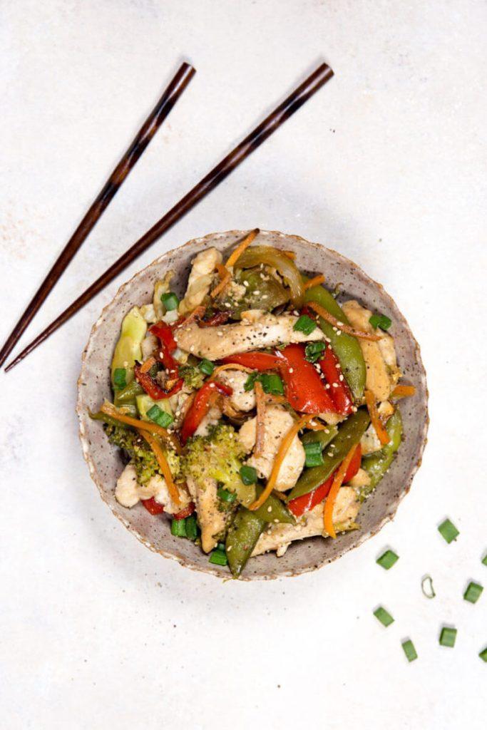 Easy, flavorful, sheet pan chicken stir fry