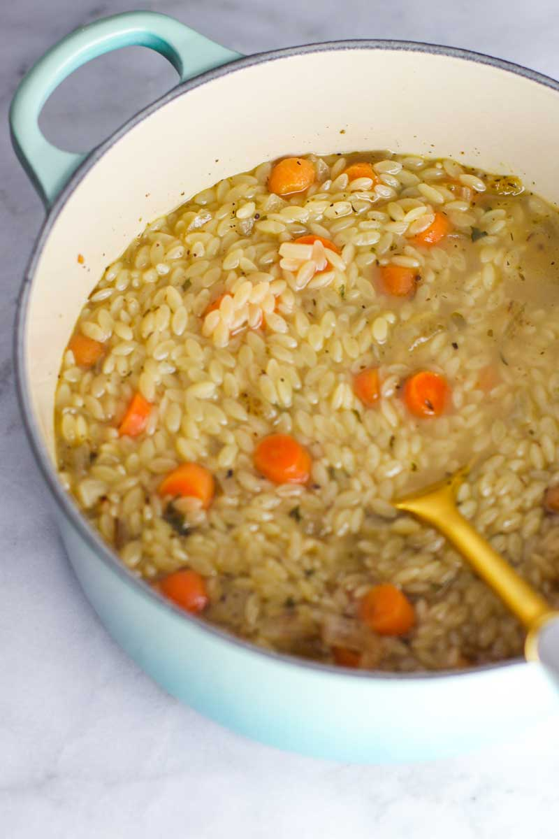 Creamy Chicken Orzo Soup Recipe: This soup is an easy and flavorful take on the classic chicken noodle soup! It's sure to be a new family favorite!