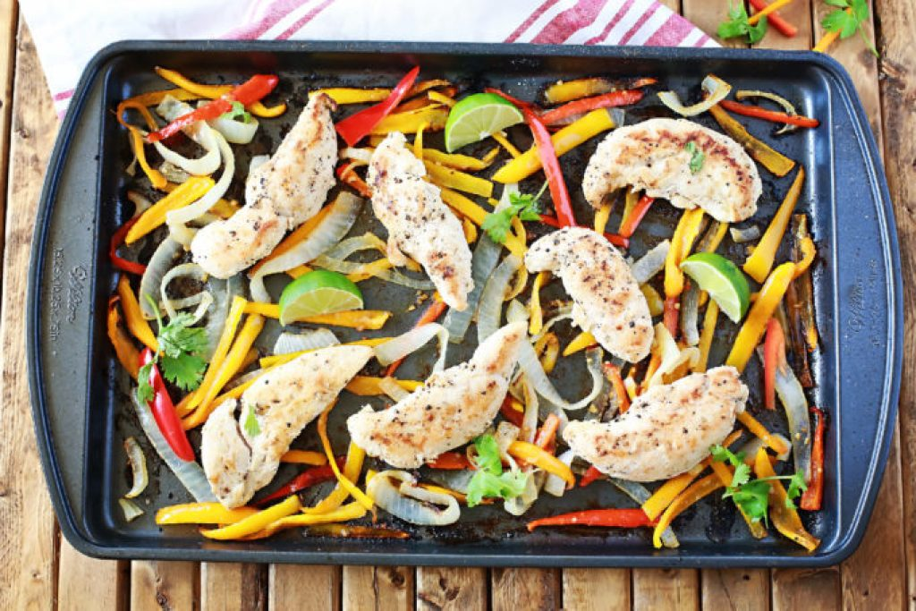 Sheet pan roasted chicken and peppers with avocado