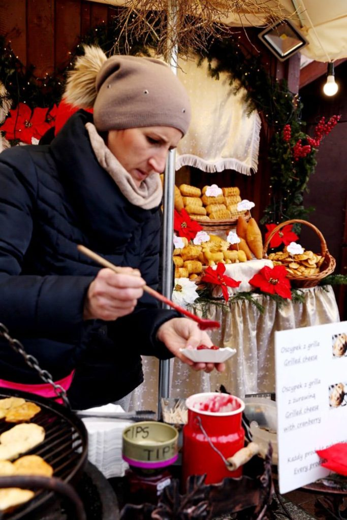 The grilled pieces of cheese at the Polish Christmas markets