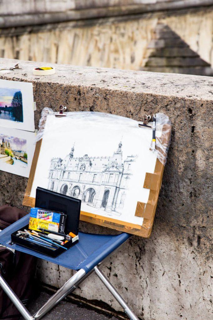 Street artists peddaling their wares