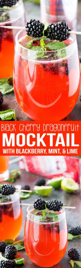 Black Cherry Dragonfruit Mocktail with Mint, Blackberry, and Lime