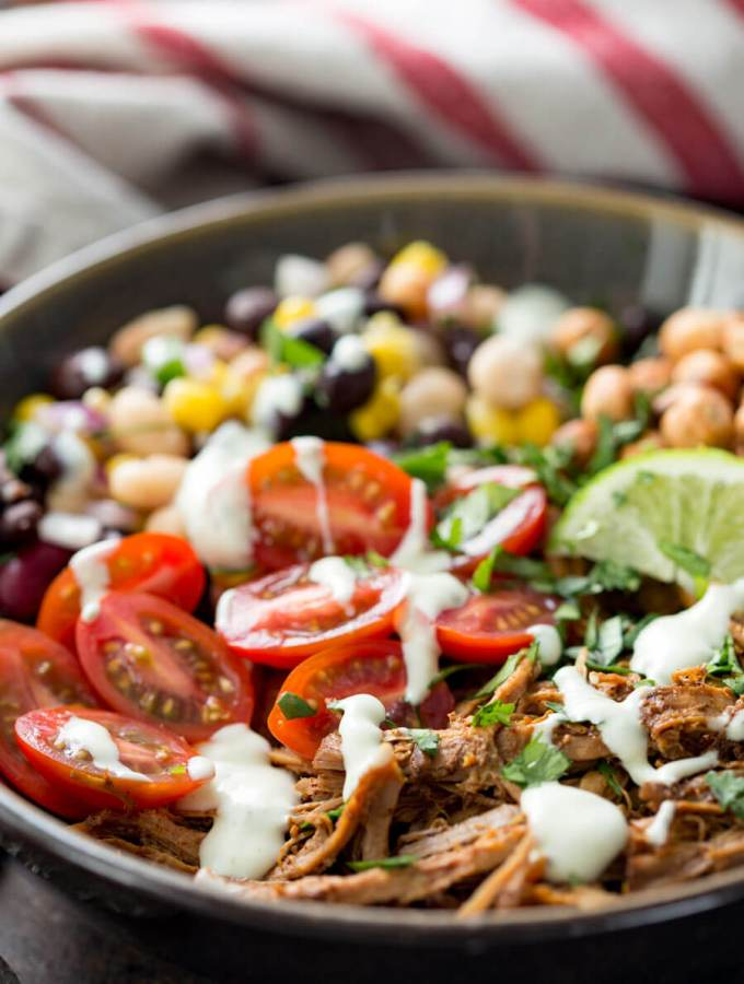 Pulled pork and pulse protein bowl