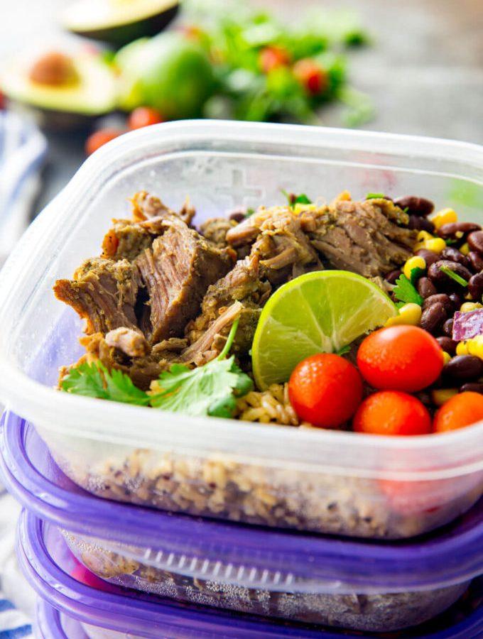 Seasoned pork carnitas meal prep bowls made easy