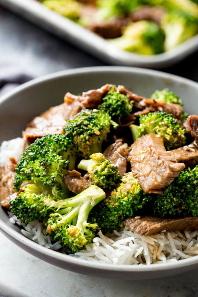 A bowl of delicious beef and broccoli