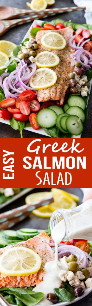 Easy Greek Salmon Salad that can be made in under 30 minutes with low mess and little prep