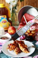 Easy peach BBQ sauce over grilled chicken