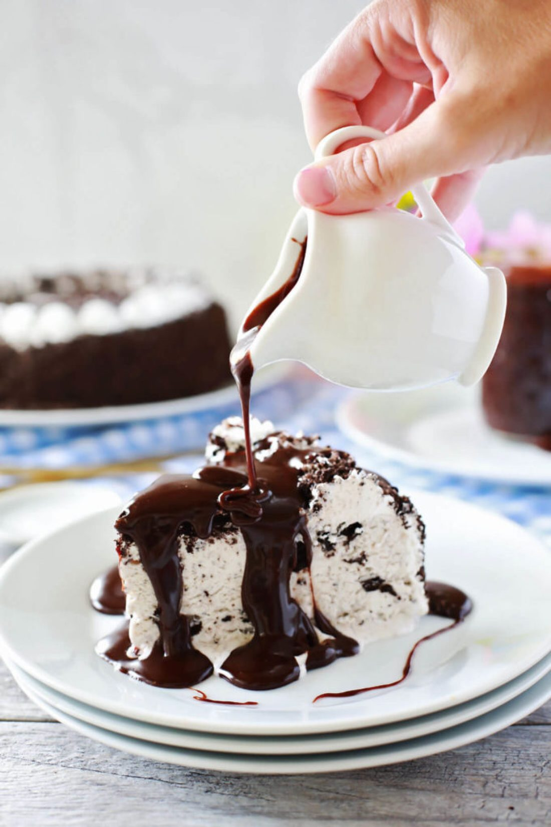 Chocolate Hazelnut Hot Fudge Sauce on ice cream cake