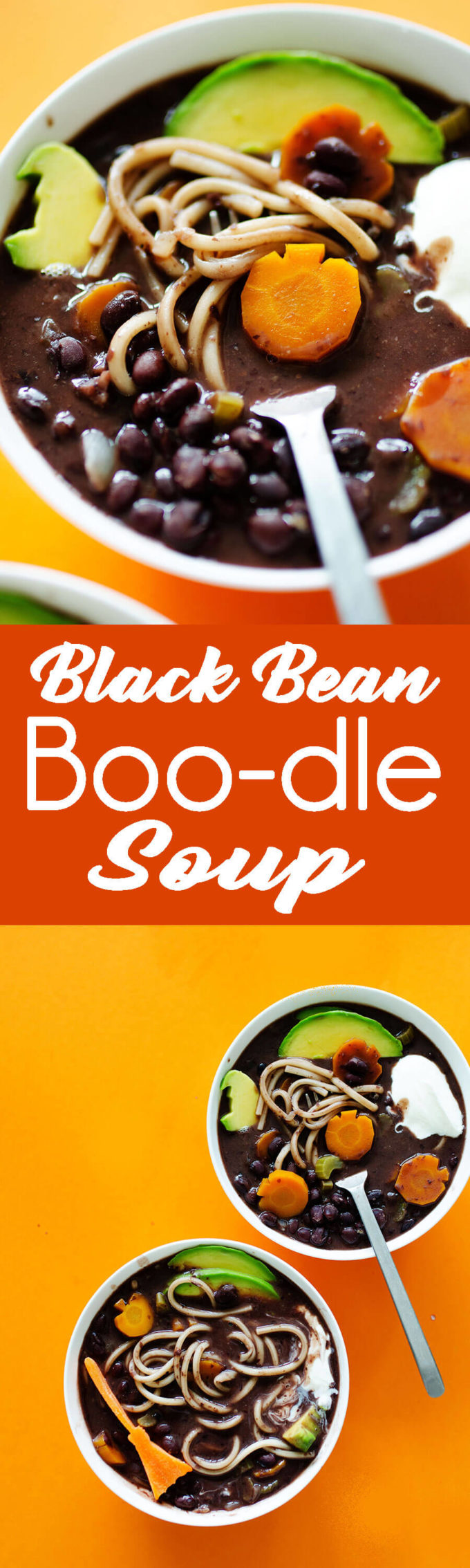 """Black Blean Noodle Soup with fun halloween shapes to make it """"scary good"""" soup for Halloween."""