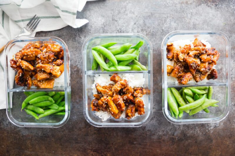 Meal prep chicken- easy make ahead lunches for ginger orange chicken meal prep