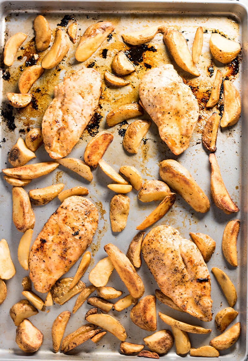 sheet pan Cajun chicken and fries