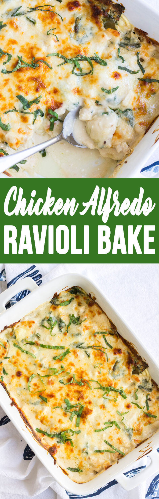 Chicken alfredo ravioli bake, easy and creamy!