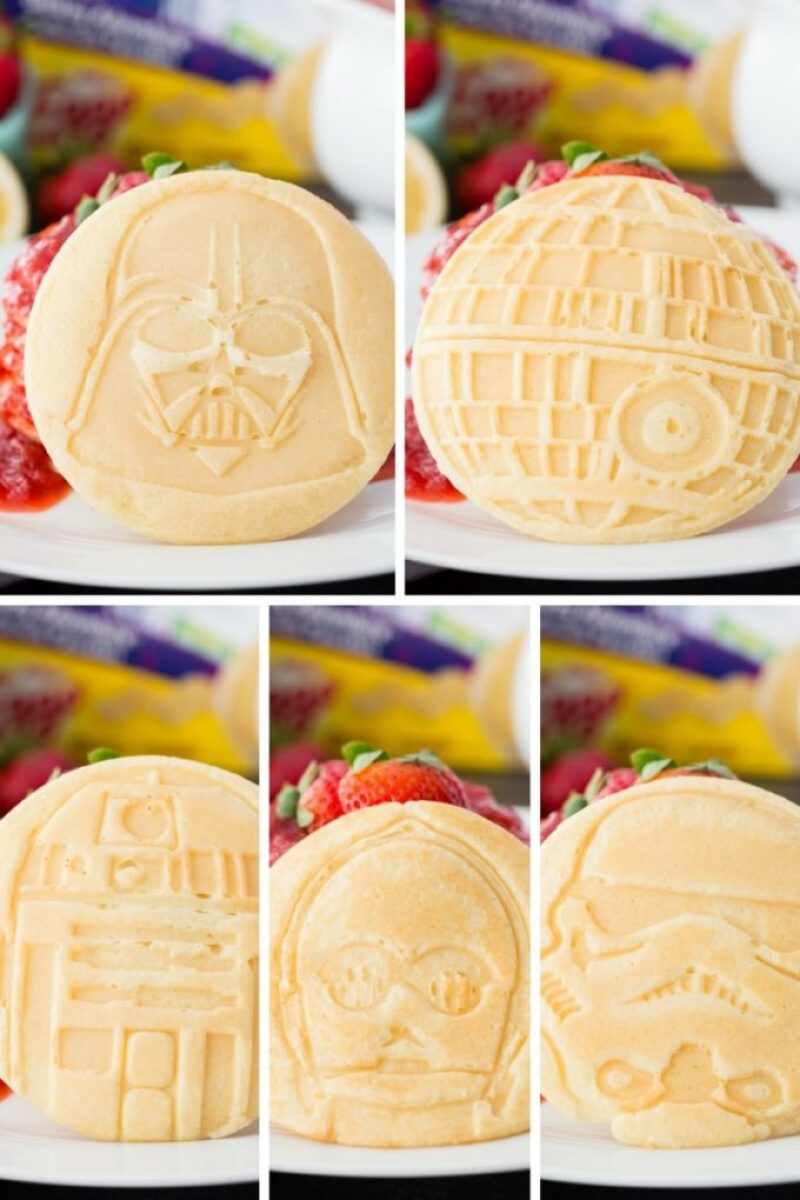 Star Wars pancakes with strawberry syrup