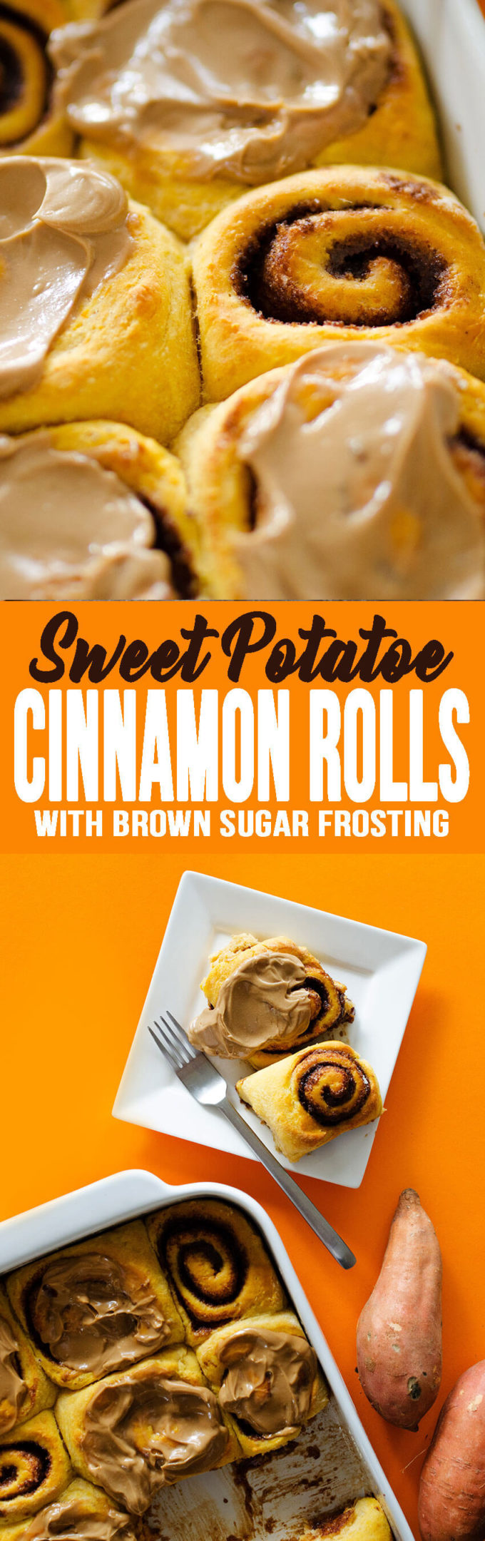Sweet potato cinnamon rolls with a brown sugar frosting