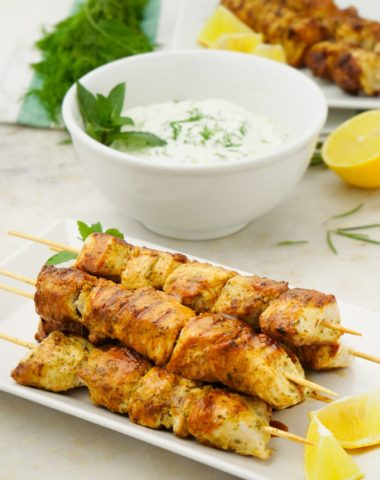 Delicious greek marinated chicken and a tzatziki dipping sauce