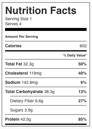 Lemon Chicken with Cilantro Brown Rice Nutrition Facts
