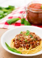Delicious spaghetti dinner using homemade spaghetti sauce