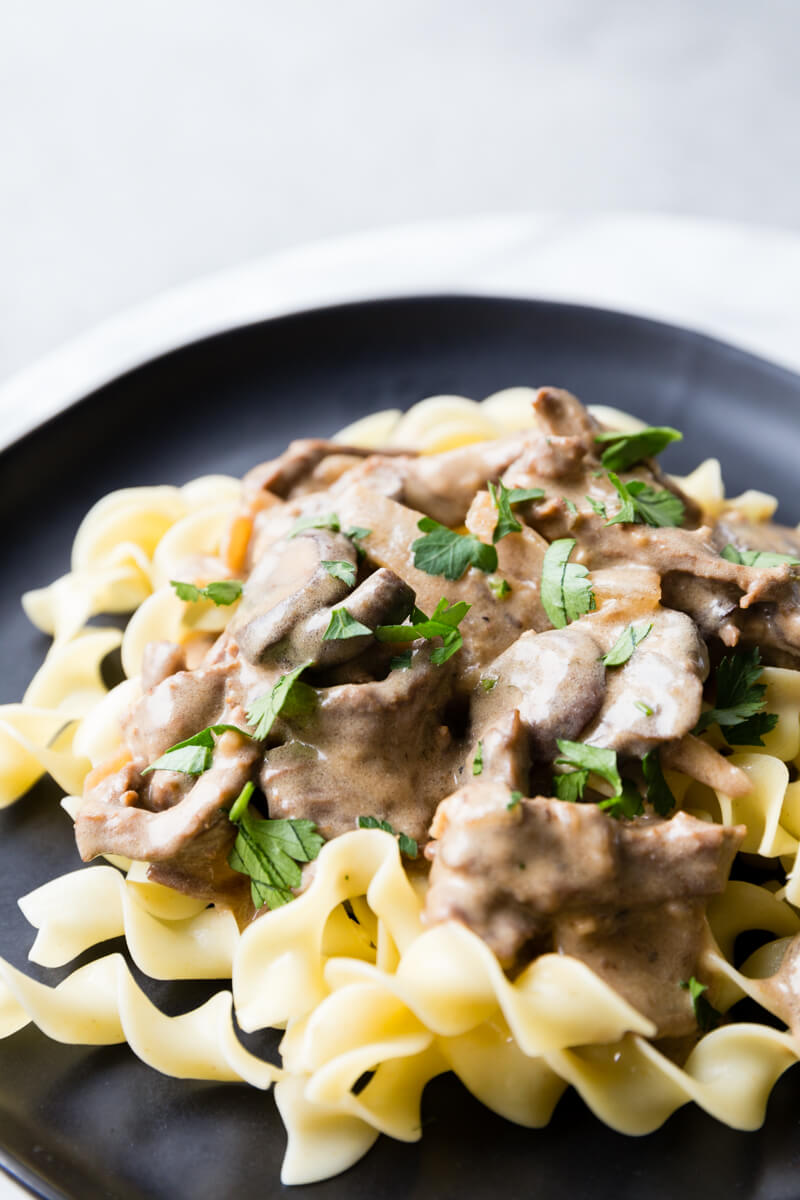 Beef Stroganoff: tender flavorful beef, hearty and creamy sauce, and plenty of mushrooms make this easy beef stroganoff an instant pot pressure cooker classic.