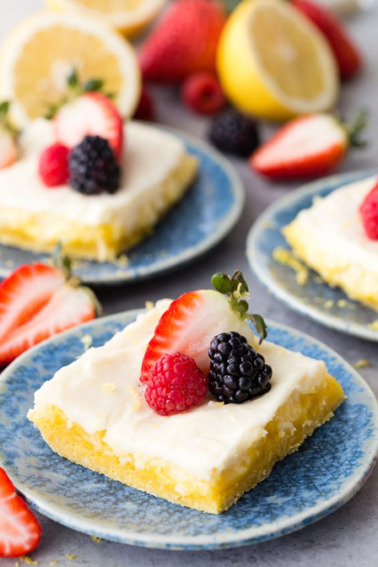 Easy lemon cheesecake bars that start with a cake mix