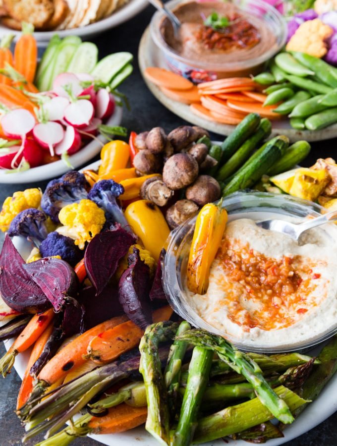 An amazing vegetable crudite platter with awesome Mediterranean bean dips from Sabra
