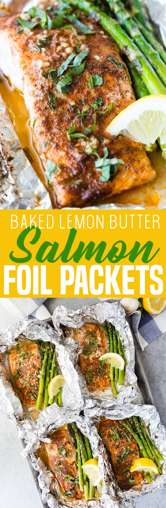 Making a baked lemon butter salmon with asparagus, foil packet