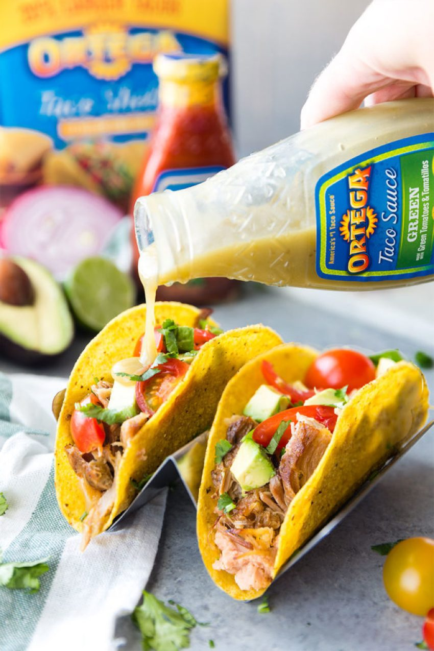 Slow Cooker or Crock Pot Pork Carnitas then made into tacos