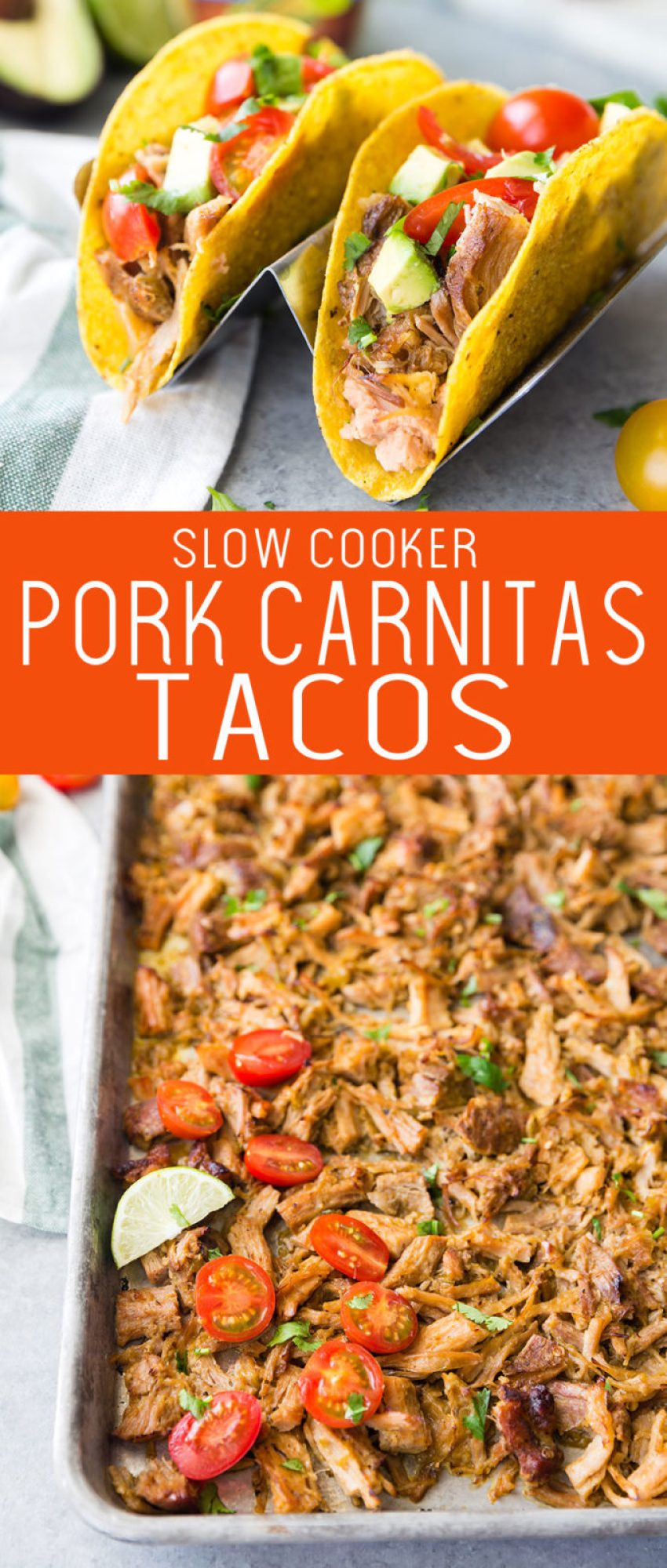 Delicious and easy to make slow cooker pork carnitas tacos. Perfectly seasoned carnitas layered in a hard shell to make tasty tacos.