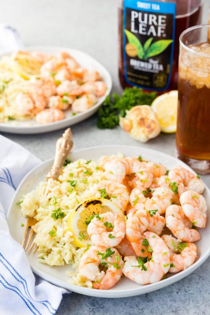 Plates of Garlic Butter Shrimp