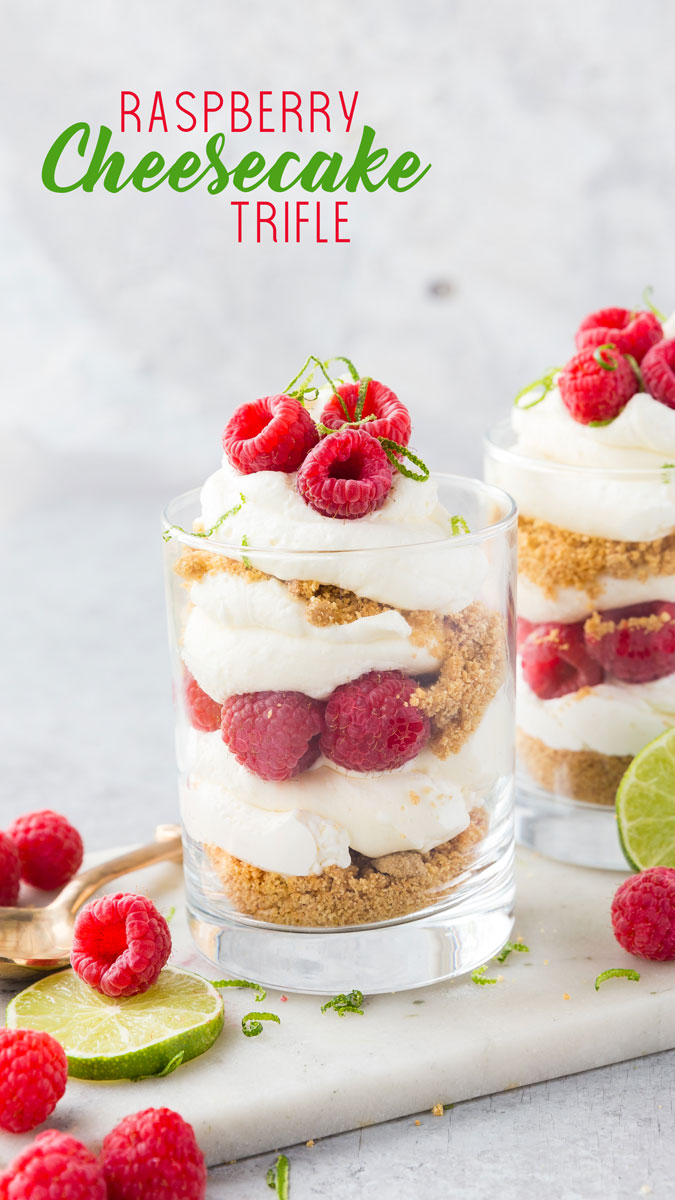 A delicious no bake summer dessert, raspberry cheesecake trifle