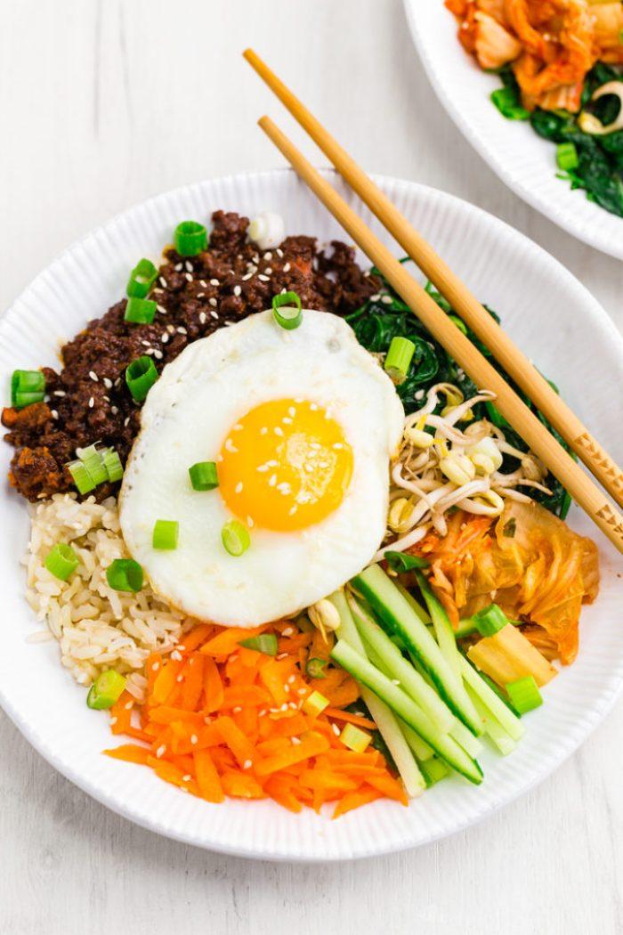 Easy bibimbap Korean beef bowls