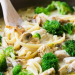A delicious pot of fettuccine Alfredo with mushrooms, broccoli, and chicken