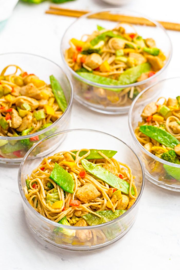 Garlic chicken lo mein is a great meal prep item