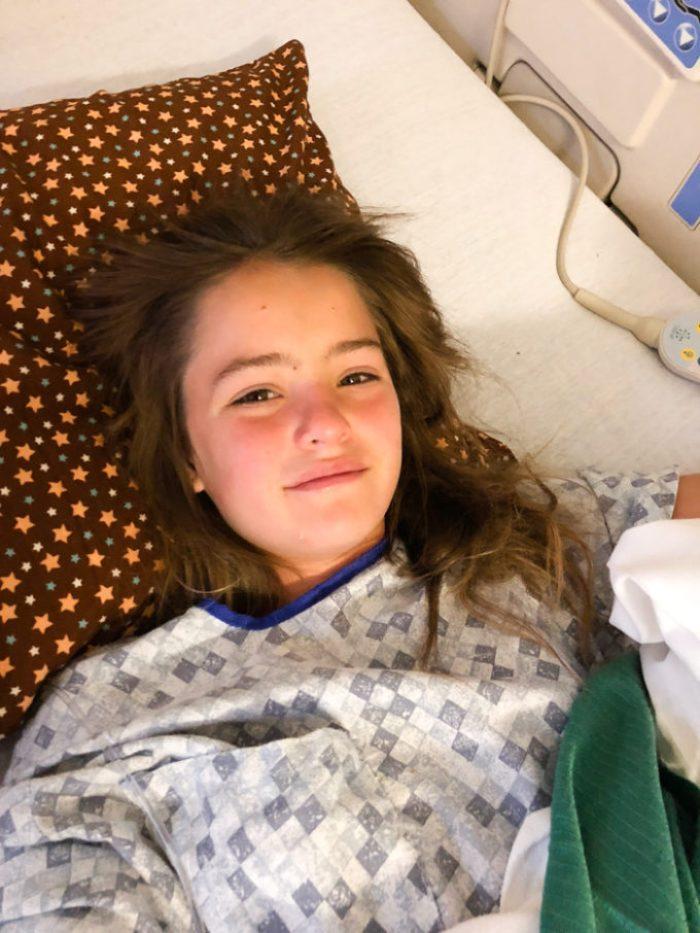 In hospital, feeling better
