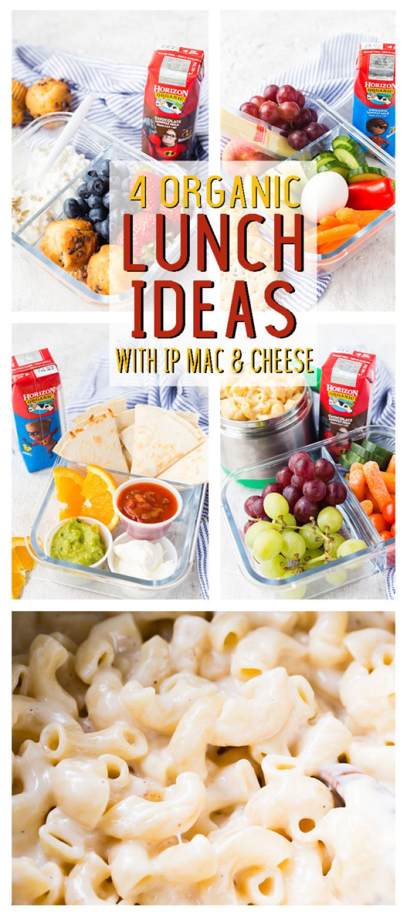 4 organic lunch ideas with Mac and cheese cooked in the pressure cooker