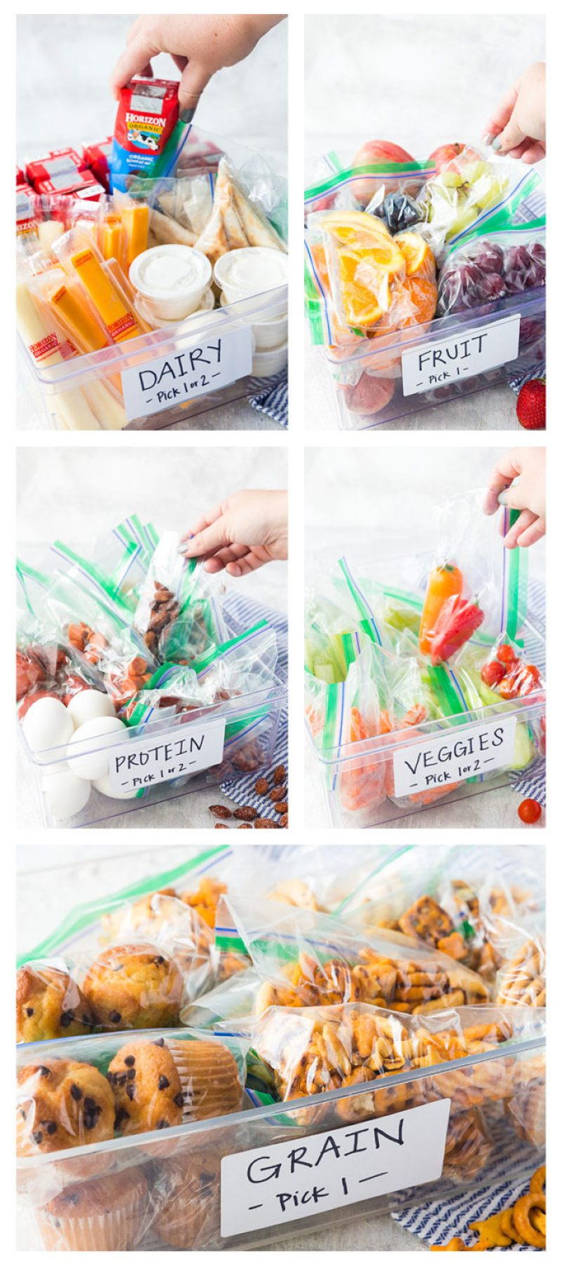 5 bins full of organic foods for kids to build their own lunches with