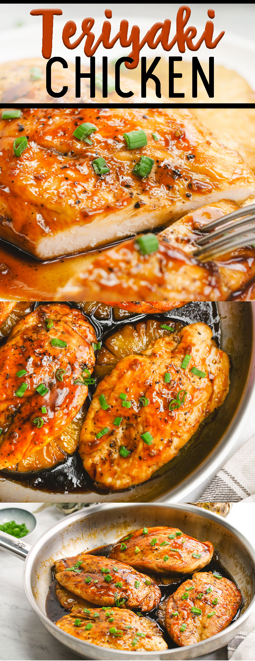 Teriyaki chicken, a skillet chicken that is topped with a fantastic homemade teriyaki sauce.