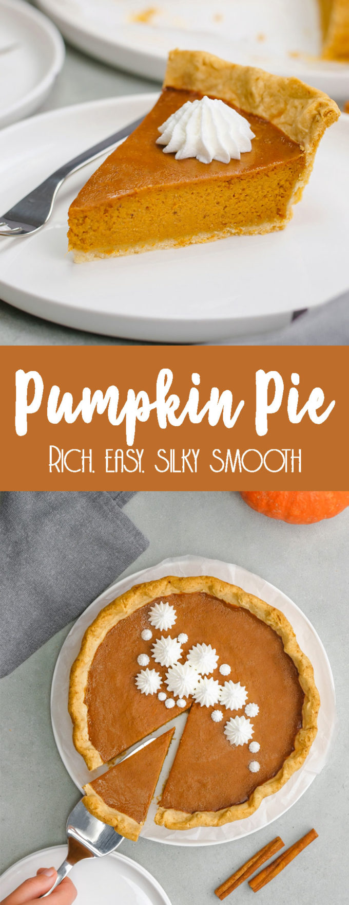 Easy to make, richly seasoned, and silky smooth pumpkin pie.