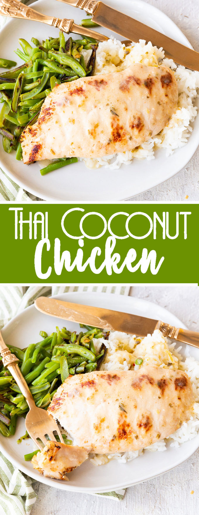 Thai coconut chicken served over rice with green beans.