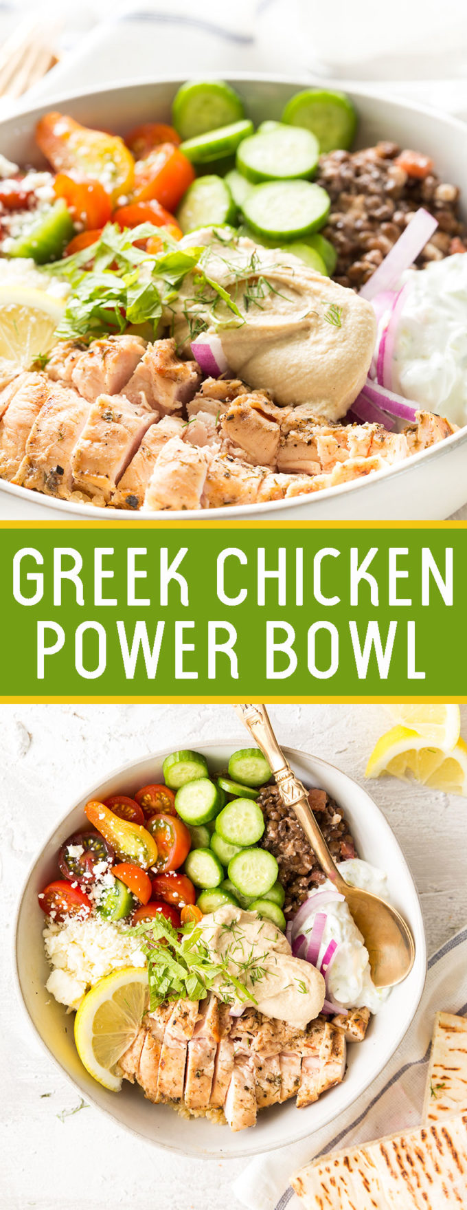 Greek chicken power bowl is full of nutritious and delicious flavors, and totally delicious.