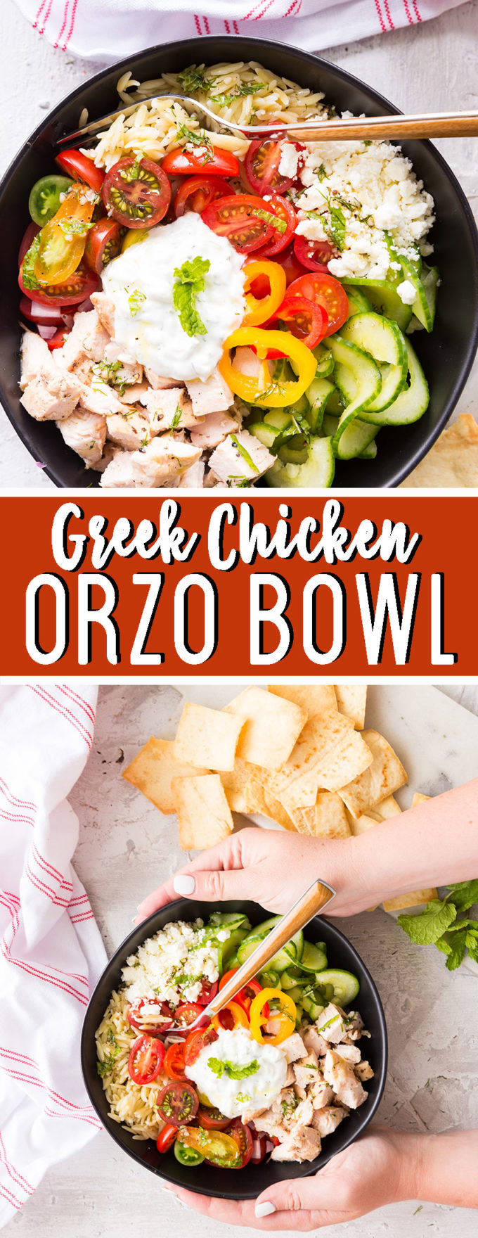 Easy to make Greek Chicken orzo bowl.