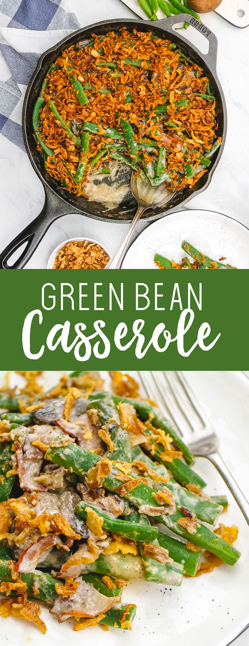 A rich, fresh made green bean casserole with no creamy of anything.